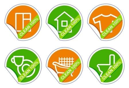 washing dishes: Houseware icons  Illustration