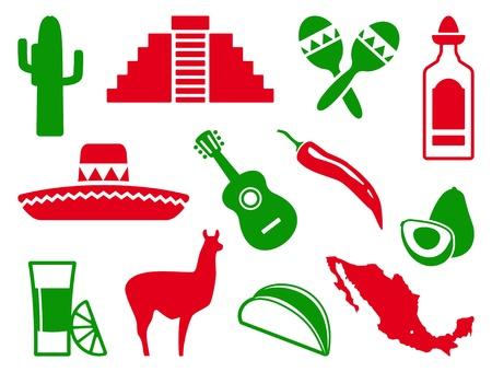 sombrero de charro: Conjunto de iconos de México Vectores