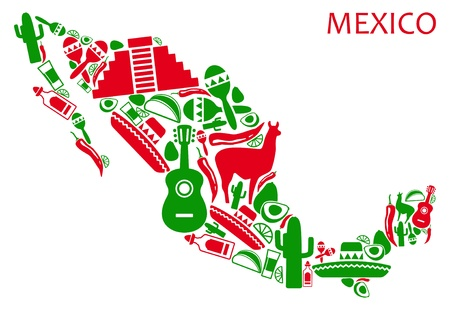 mexican culture: Map of Mexico from national symbols Illustration
