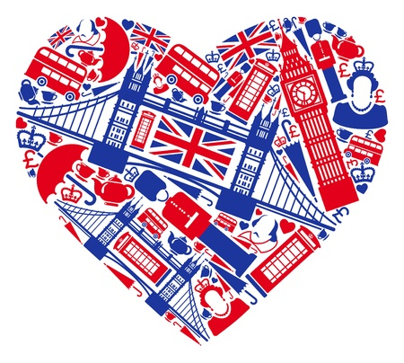 london bus: Traditional symbols of London and England in the form of heart