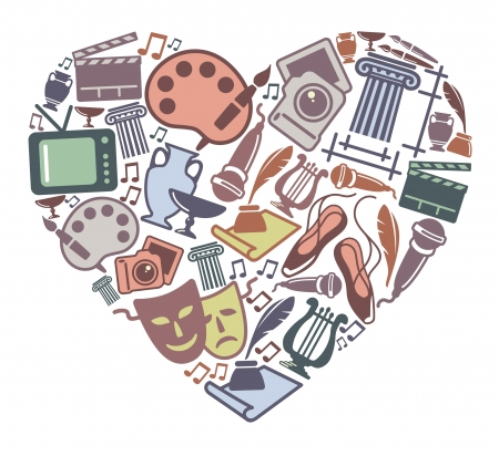 Simboli di varie forme d'arte in forma di cuore Vettoriali