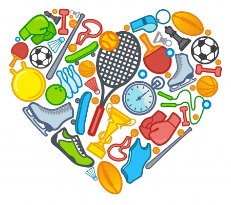 sport balls: Sports symbols in the form of heart