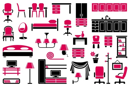 closets: Furniture icon set