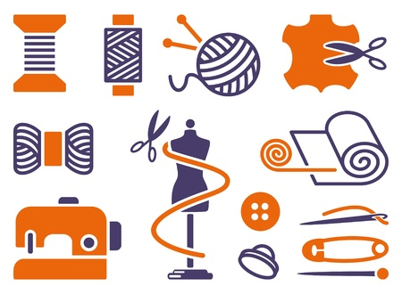 Sewing and needlework icons Stock Vector - 16826071