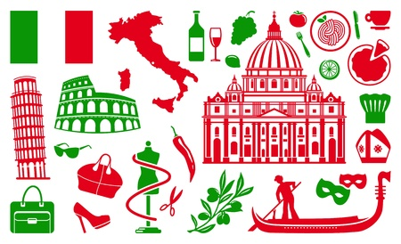 italian culture: Traditional symbols of Italy Illustration
