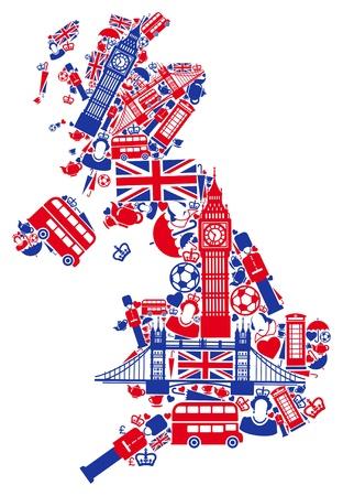 bandera inglesa: Gran Bretaña mapa Vectores