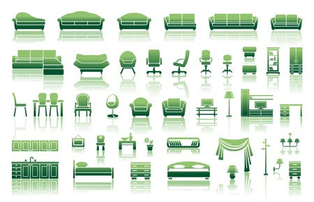 table set: Icons of furniture and accessories for an interior Illustration