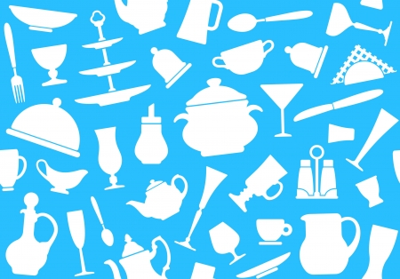 Seamless background of tableware Vector