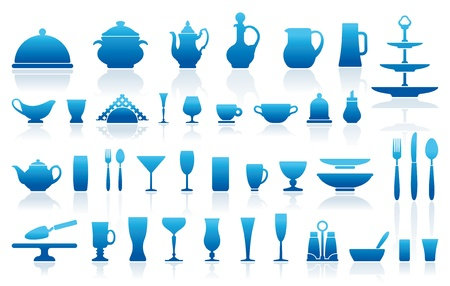 Icons of ware for table layout Vector