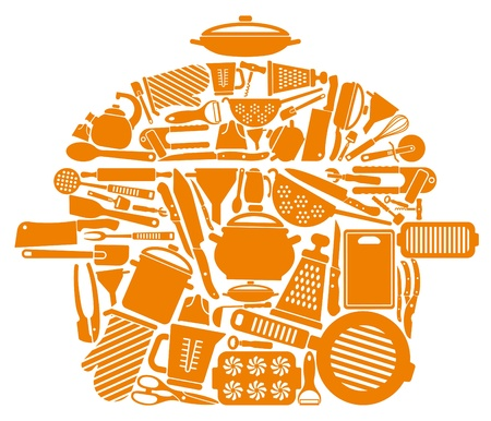 Icons of kitchen ware and utensils in the form of a pan Vector