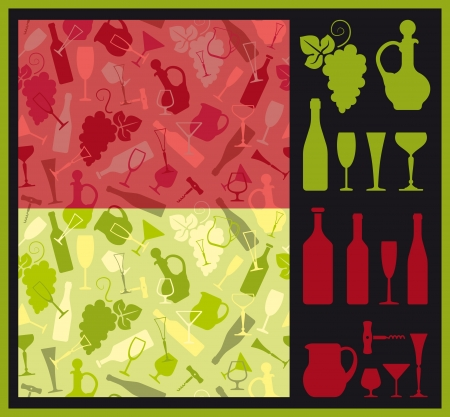 Seamless background and icons on a wine theme Vector