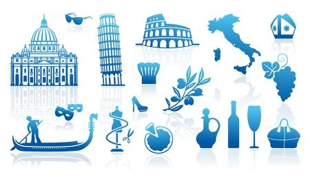 cultura italiana: Set di icone su un tema di viaggio in Italia