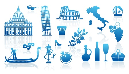 rome italy: Set of icons on a theme of travel to Italy
