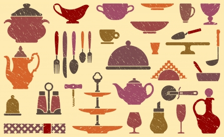 Seamless background with tableware in a retro style Vector