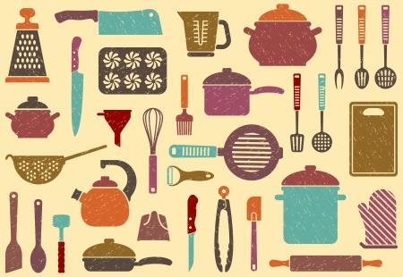 kitchen utensils: Fondo incons�til con menaje en retrostyle Vectores