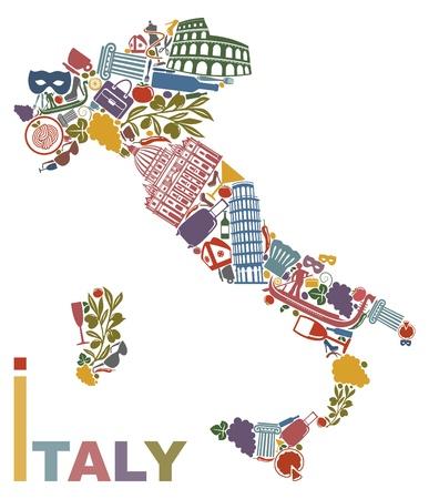 Símbolos tradicionales de Italia en la forma de un mapa Ilustración de vector