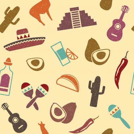 mexican sombrero: Seamless messicana sfondo in retrostyle