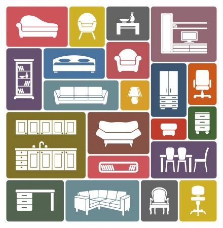 vintage furniture: Furniture icon set