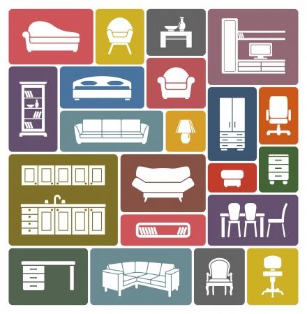 Muebles conjunto de iconos