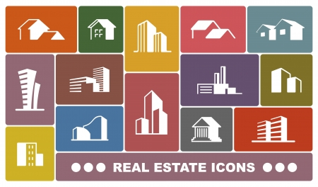town modern home: Real estate icons Illustration