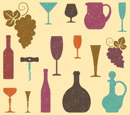 retro bottle: Wine background