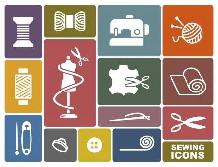 needlework: Cucito e ricamo icone Vettoriali