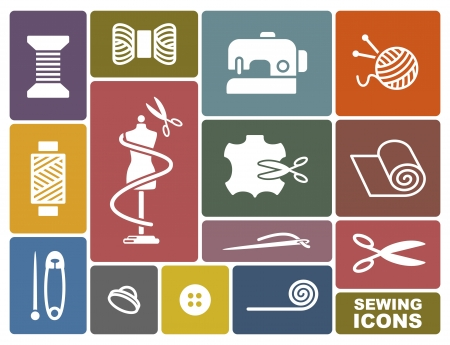 textile industry: Sewing and needlework icons Illustration