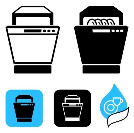 geschirrsp�ler: Einfache Symbole des Geschirrsp�lers Illustration