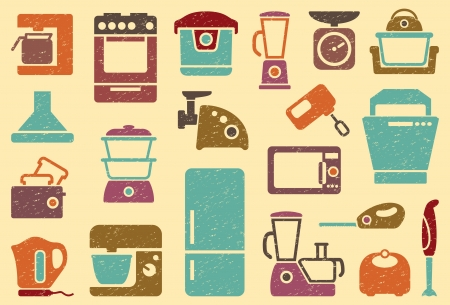 double boiler: Seamless background from icons of kitchen home appliances