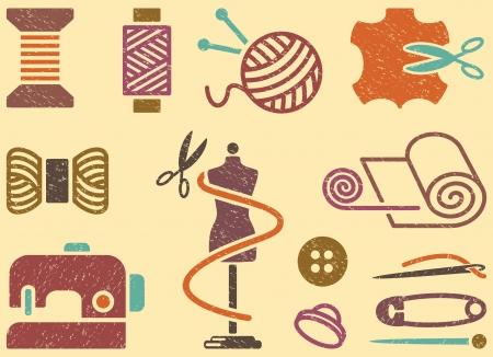 Sewing and needlework background Illustration