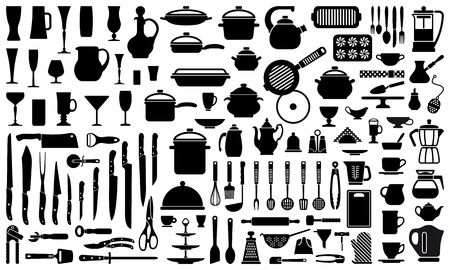meal preparation: Silhouettes of kitchen ware and utensils Illustration