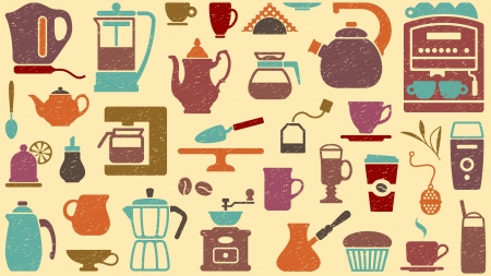 Background of tea and coffee Vector
