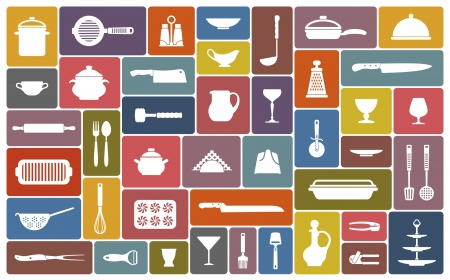 kitchen appliances: Cooking icons Illustration