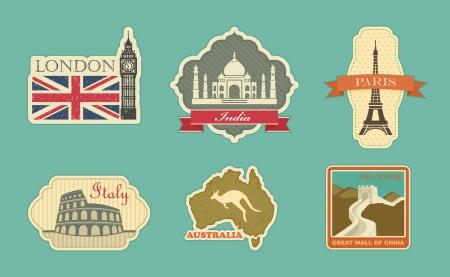 Stickers of travel  London, India, Paris, Italy, Australia, China Illustration