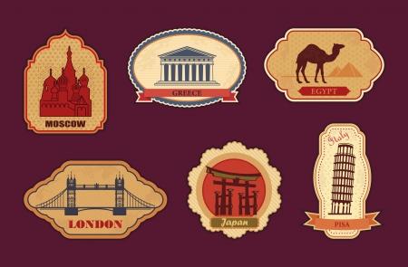 ステッカーのモスクワ、ギリシャ、エジプト、ロンドン、日本、イタリアを旅行します。  イラスト・ベクター素材