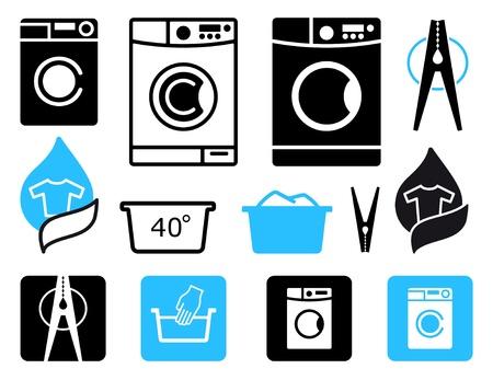 laundry symbol: Simple symbols of washing machines and washing