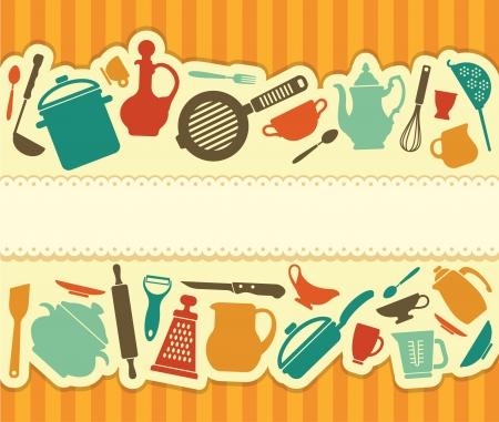 utencilios de cocina: Menú del restaurante - Ilustración