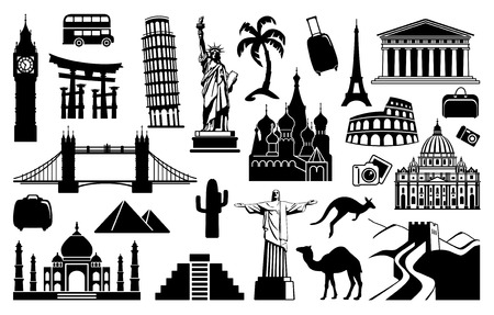 Landmark travel icons Vector