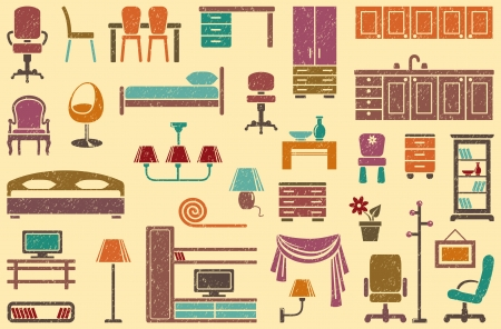 Seamless background on a furniture theme Vector