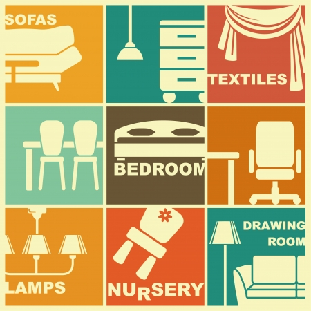 Icons of furniture and interiors Stock Vector - 23297928