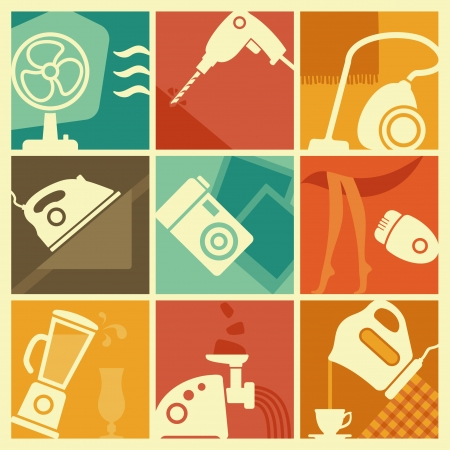 home appliances: Vintage electrodom�sticos iconos