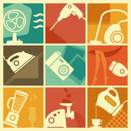 epilator: Vintage home appliances icons