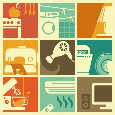 Vintage home appliances icons Vector