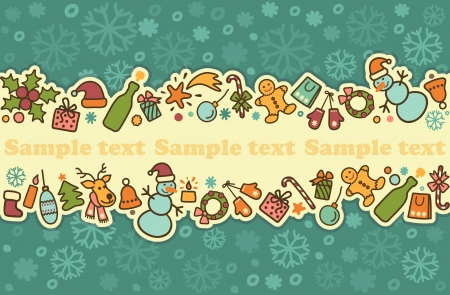 gingerbread: Seamless banner on a theme of New Year and Christmas Illustration