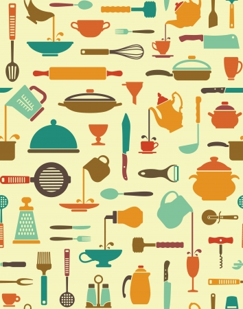 colander: Seamless background with icons of kitchen ware and utensils