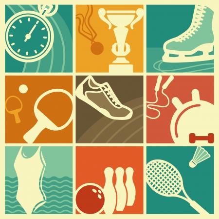 Sport symbolen in de stijl van een retro Stock Illustratie