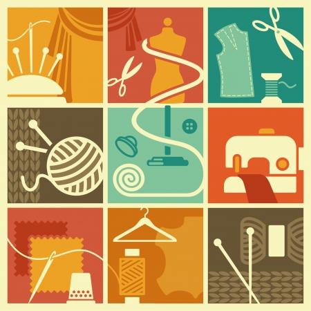 needlework: Simboli di cucito e ricamo  Vettoriali