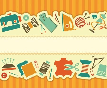 резка: Шитья и рукоделия баннер Иллюстрация