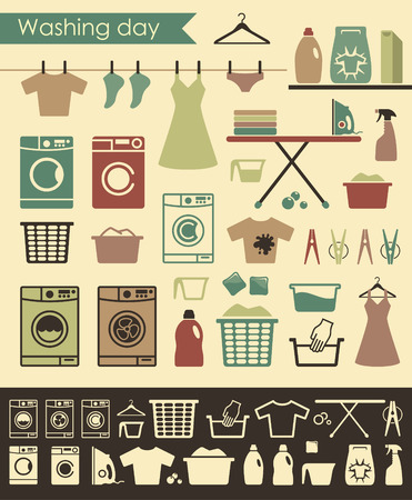 laundry hanger: Icons on a theme of washing and care of clothes