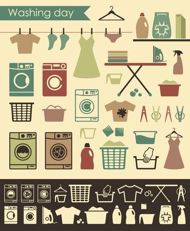 Pictogrammen op een thema van het wassen en verzorgen van kleding